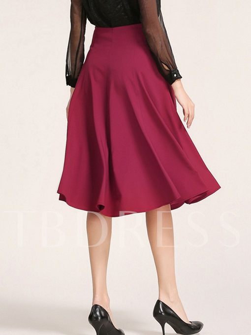 Solid Color Patchwork Women's Skirt