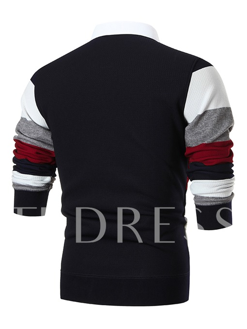 Fake Two Piece Lapel Stripe Thicken Warm Slim Fit Knit Men's Sweater