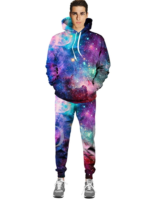 Hooded Lace-up Kangaroo Pocket Color Printed Slim Fit Men's Casual Outfits