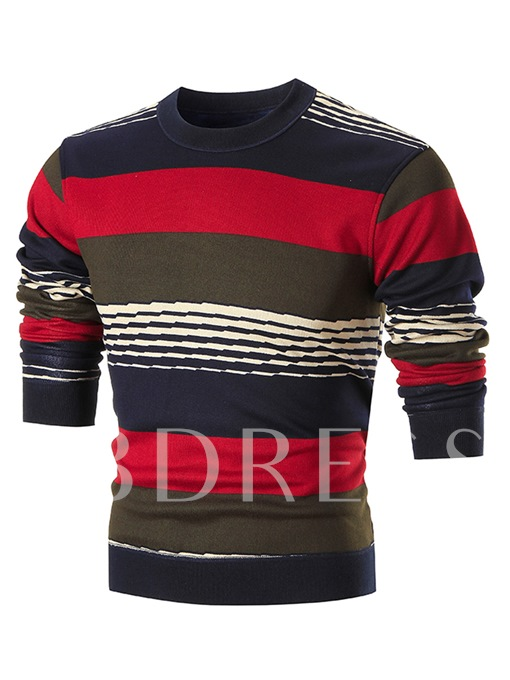 Round Collar Stripe Thicken Warm Slim Fit Knit Men's Sweater