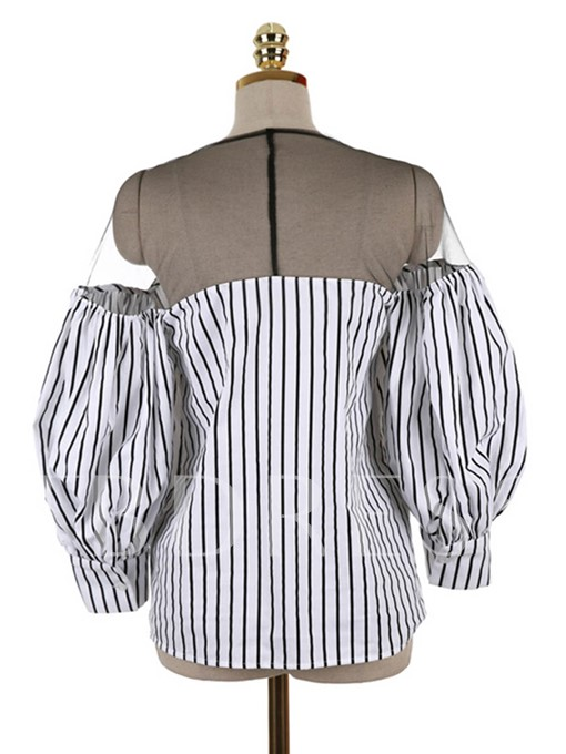Slash Neck Stripe Lantern Sleeve Loose Pullover Women's Blouse
