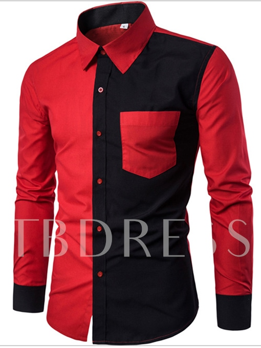 Lapel Black and Red Patchwork Slim Fit Men's Shirt