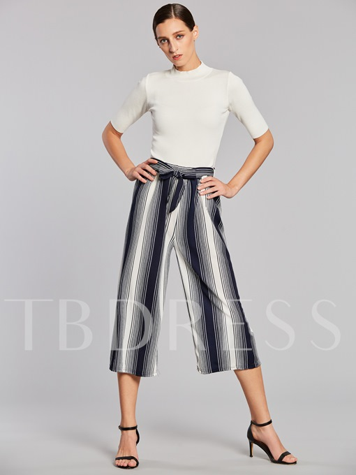 Lace-Up Mid-Calf Stripe Women's Casual Pants
