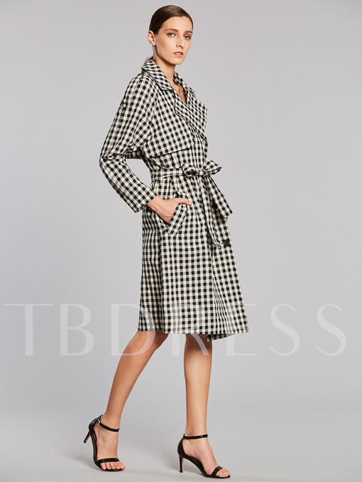 Plaid Double-breasted Lapel with Epaulet Lace-up Women's Trench Coat