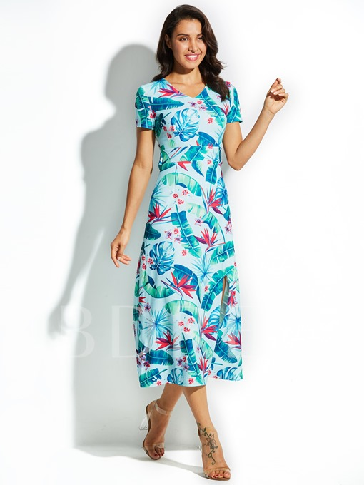 Color Block Vacation Plant Print Women's Maxi Dress