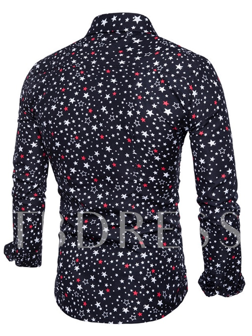 Lapel Star Printed Single-Breasted Slim Fit Men's Shirt
