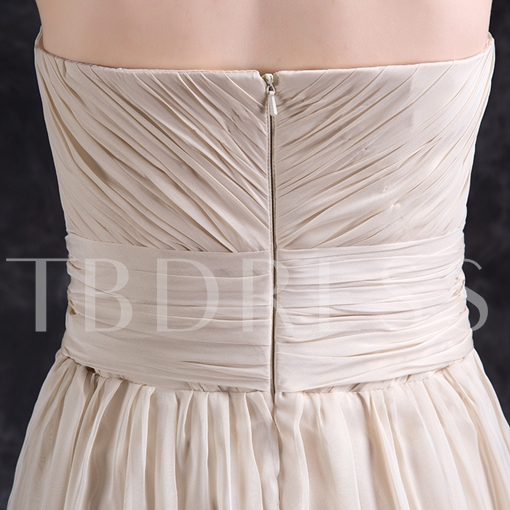 A-Line Beading Rhinestone Pleats Sweetheart Floor-Length Prom Dress