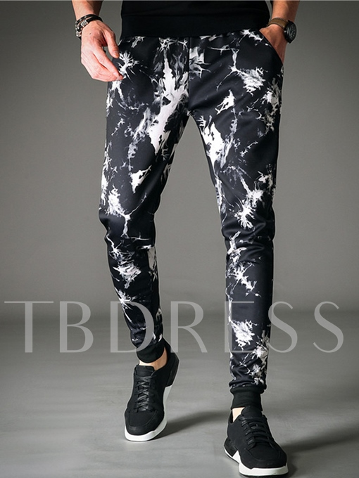 Mid Waist Splash-Ink Printed Casual Slim Men's Haroun Pants