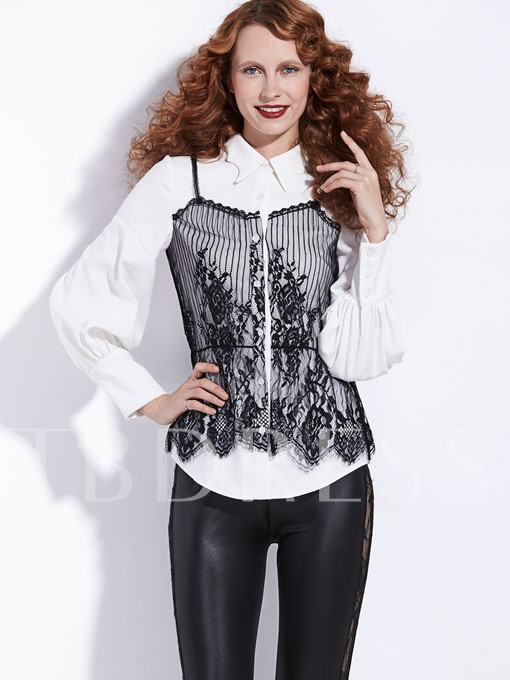 Preppy Single-Breasted Double-Layer Women's Blouse