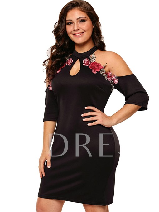 Embroidery Cold Shoulder Plus Size Women's Bodycon Dress