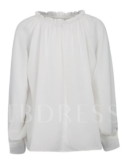 Plain Backless Pleated Loose Women's Blouse