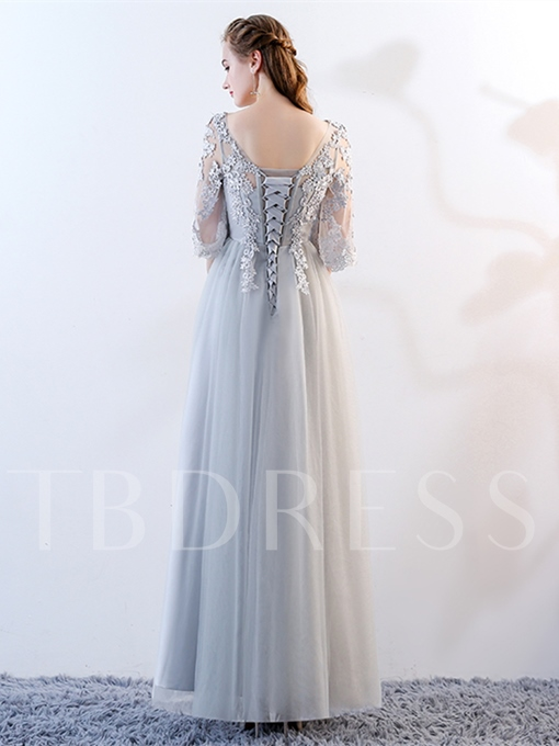 Appliques A-Line Half Sleeves Scoop Floor-Length Evening Dress