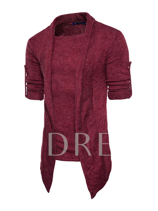 Fake Two Piece Irregular Solid Color Slim Fit Knit Men's Sweater
