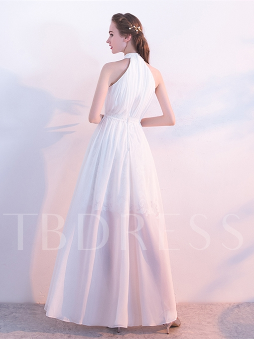 A-Line Appliques Halter Sleeveless Floor-Length Evening Dress
