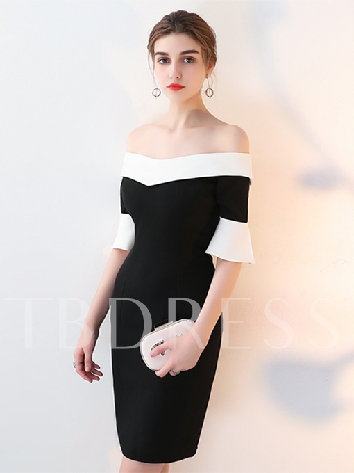 Sheath Off-the-Shoulder Trumpet Sleeves Mini Cocktail Dress