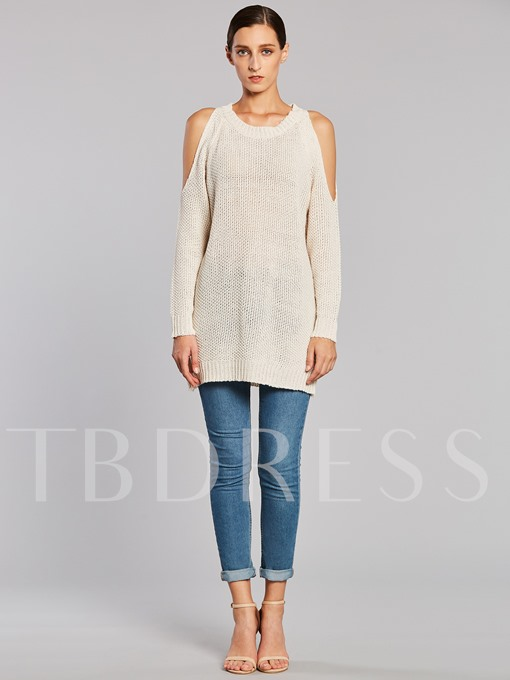 Hollow Plain Pullover Loose Round Neck Women's Sweater