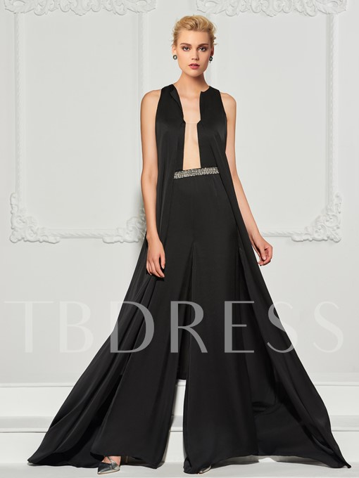 A-Line Beading Square Evening Jumpsuits