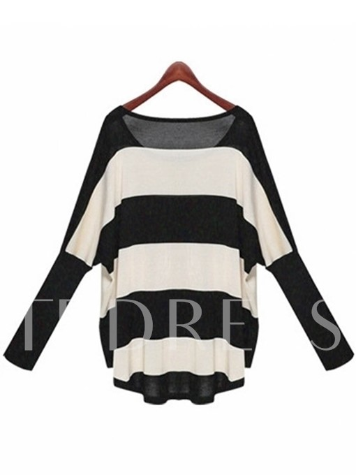 Round Neck Thin Stripe Loose Mid-length Women's Sweater