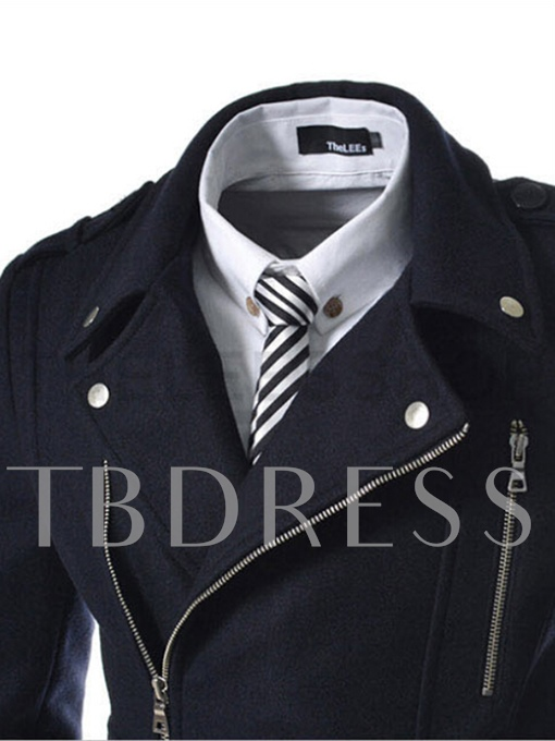 Notched Collar Midi Pattern Double-Breasted Zipper Slim Woolen Men's Trench Coat