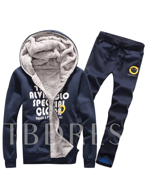 Hooded Zipper Letter Printed Thicken Warm Side Pocket Slim Fit Men's Casual Suit