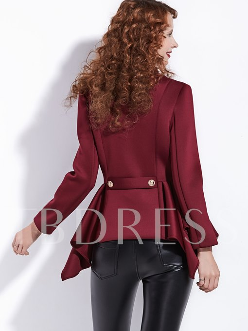Ruffle High Waist Long Sleeve Women's Jacket