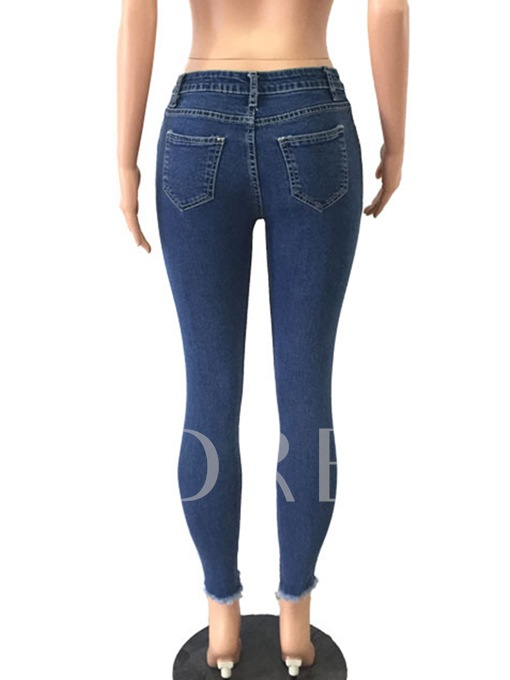 Plain Hole Asymmetric Patchwork Women's Jeans