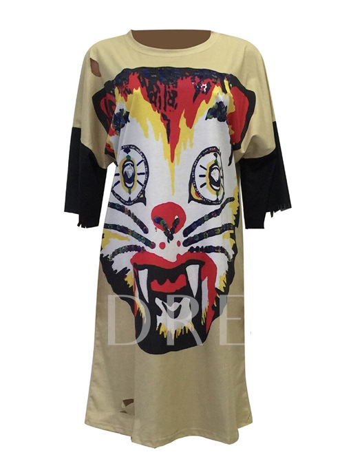 Half Sleeve Tiger Pattern Straight Women's Day Dress