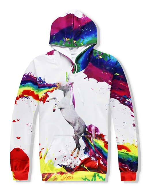 Hooded Unicorn Printed Colorful Kangaroo Pocket Slim Fit Men's Casual Outfits