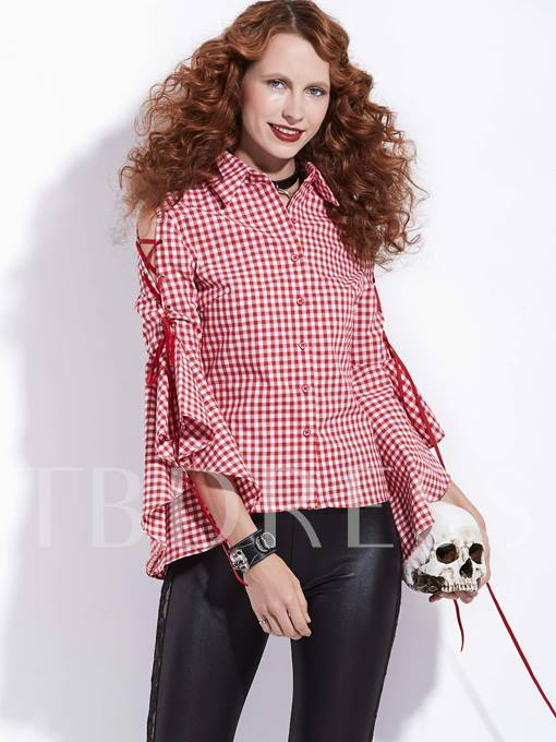 Stand Collar Gingham Bell Sleeve Women's Shirt