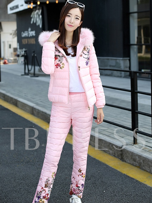 Thick Floral Embroidery Hooded Women's Pants Suit