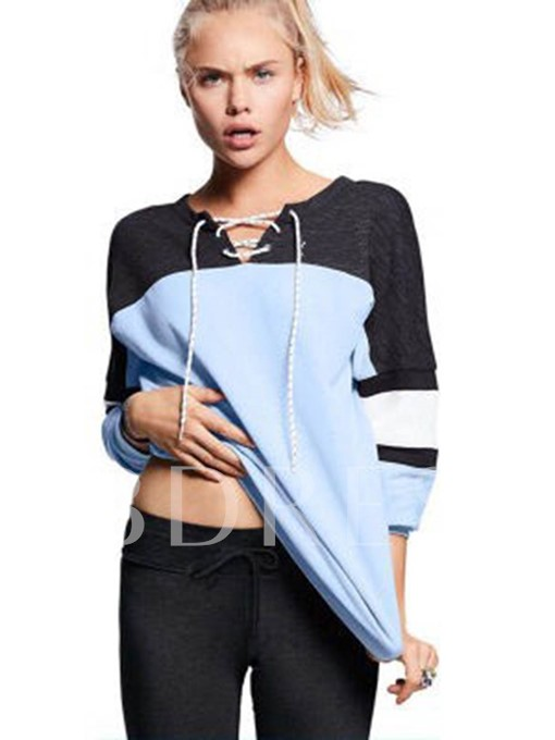 Color Block Patchwork Lace-up Pullover Women's Sweatshirt