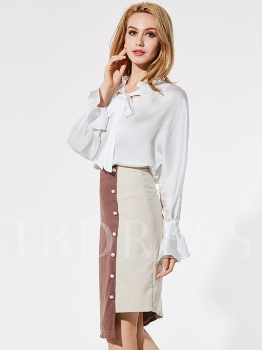 Bowknot Falbala Pleated Flare Sleeve Women's Blouse