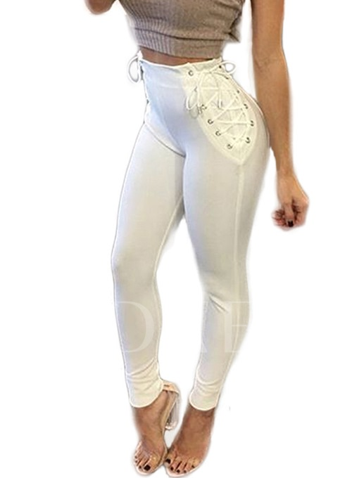 Fall White Patchwork Lace-Up Women's Leggings