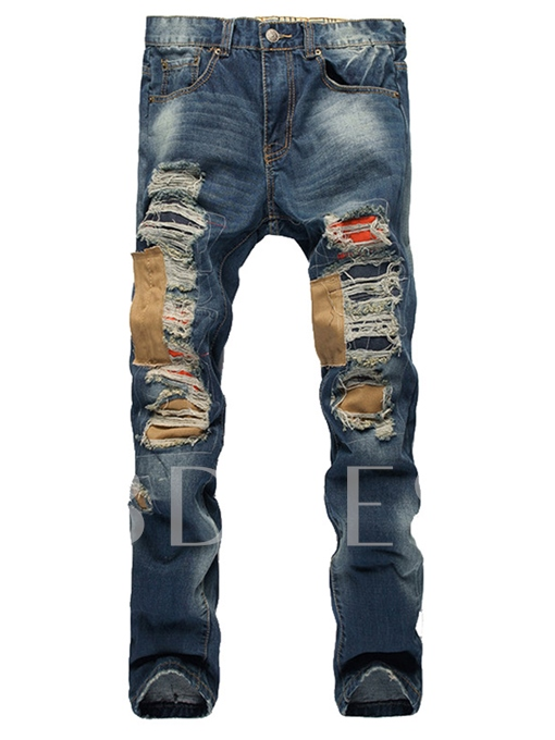 Mid Waist Worn Hole Slim Fit Men's Jeans