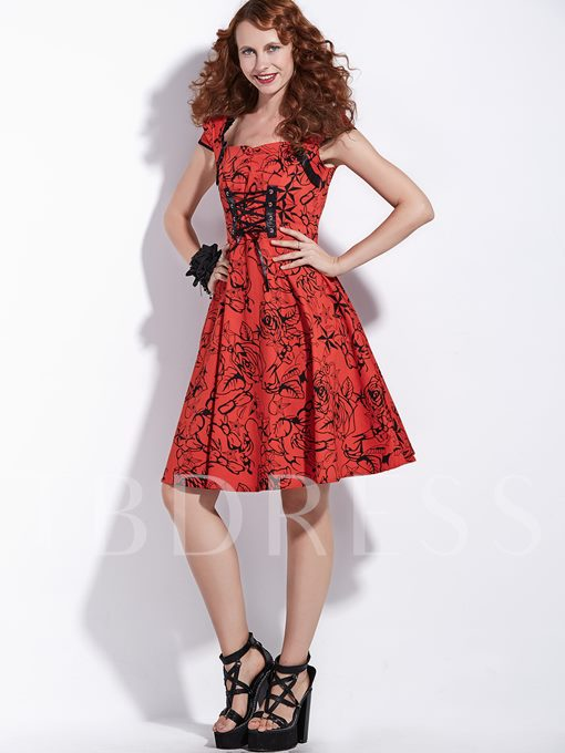 Red Cap Bandage Women's Day Dress