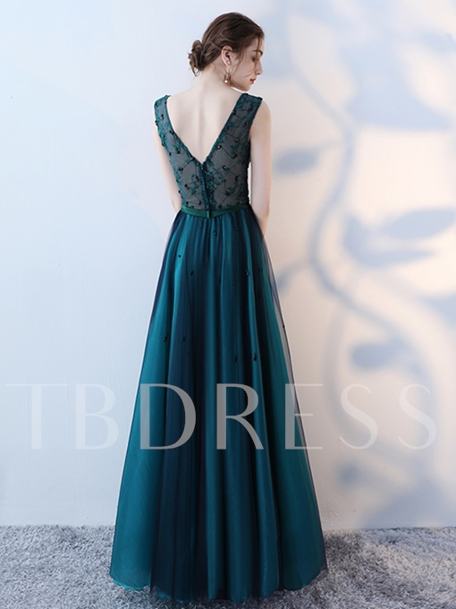 A-Line V-Neck Beading Bowknot Lace Sashes Floor-Length Evening Dress