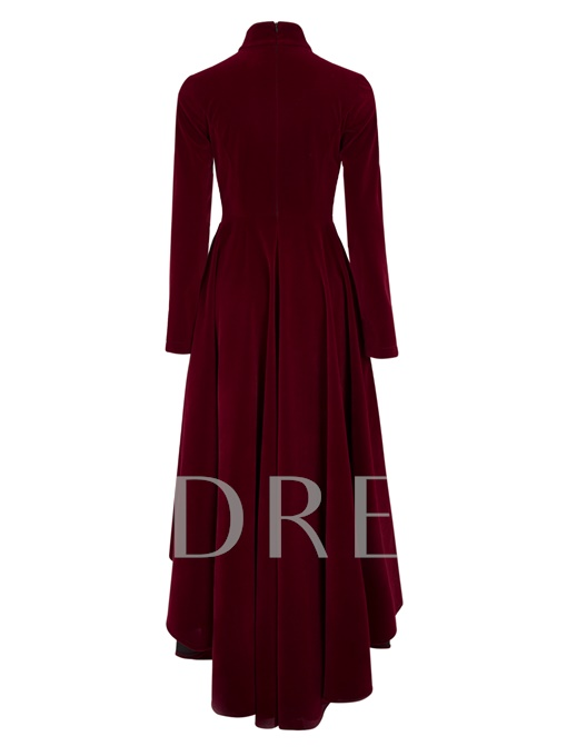 Burgundy Velvet Turtle Neck Women's Maxi Dress