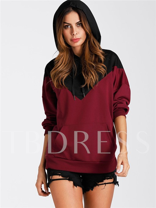 Color Block Batwing Sleeve Pullover Women's Hoodie
