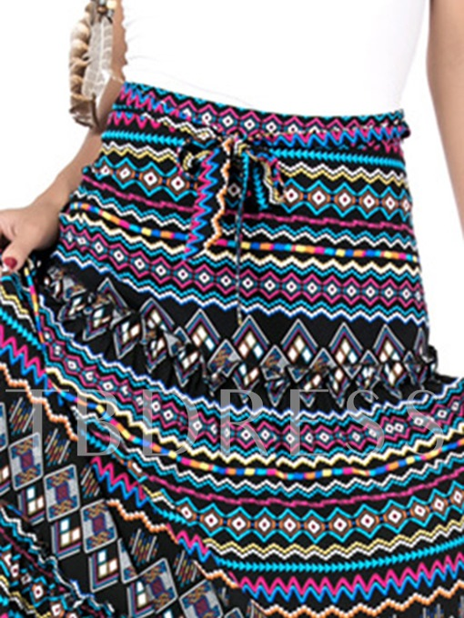 Geometric Print Ankle-Length Lace-Up Women's Skirt
