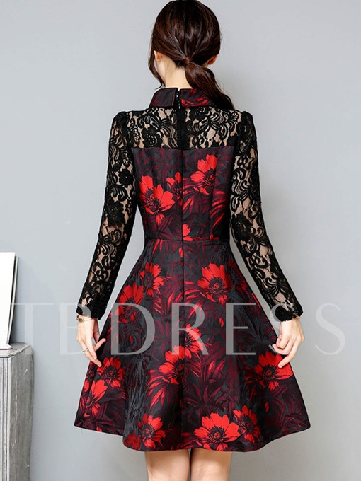 Lace Patchwork Printing Women's Day Dress