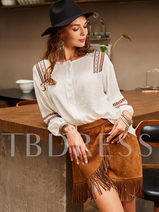 Round Neck Asymmetric Embroidery Geometric Women's Blouse
