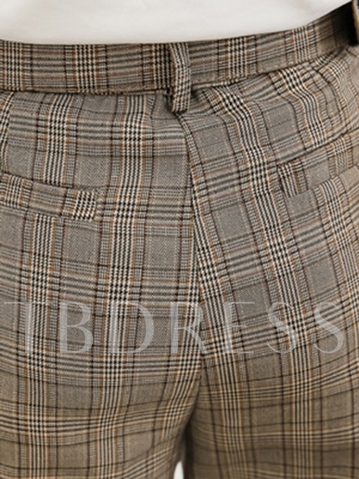 Pleated Belt Plaid Print High Waist Pocket Women's Pants