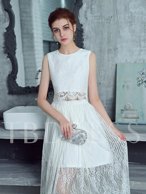 A-Line Lace Scoop Tea-Length Prom Dress