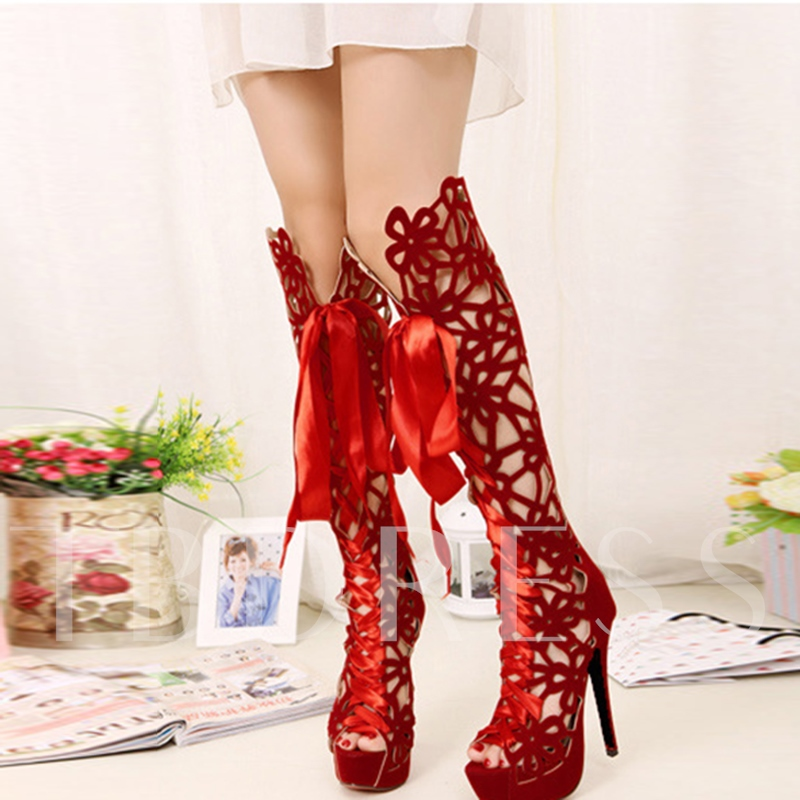Suede Lace Up Platform Shoes Women's Knee High Boots