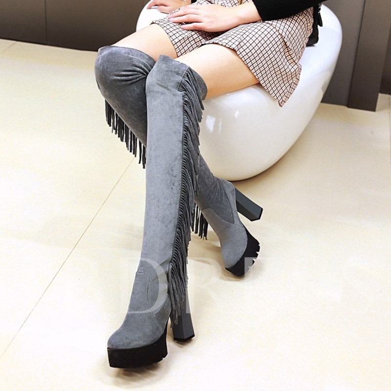 Plus Size Side Fringe Spandex Women's Knee High Boots