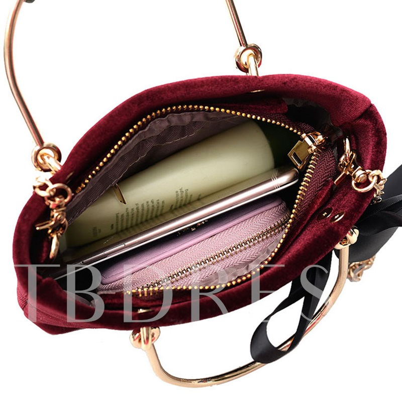 Chic Bowtie Decoration Velvet Chain Women Tote
