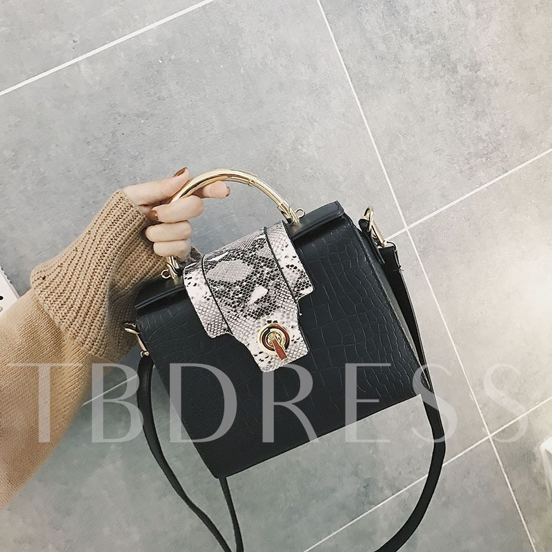 Serpentine Pattern Color Block Latch Cross Body