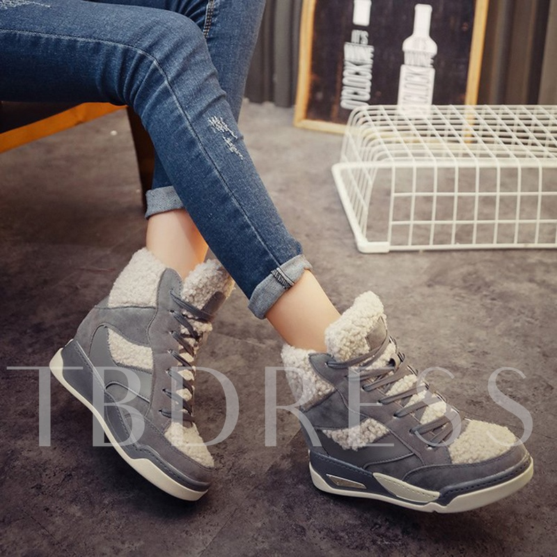 Suede Lace Up Patchwork Short Floss Women's Height Increasing Sneakers
