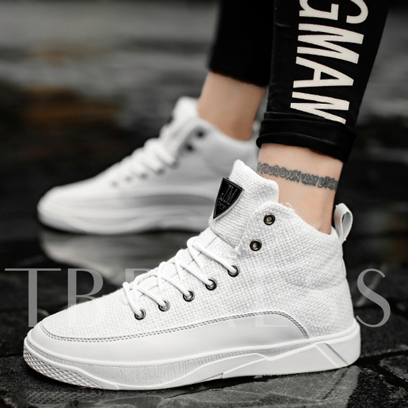 Solid Cloth Lace Up Men's High Shoes