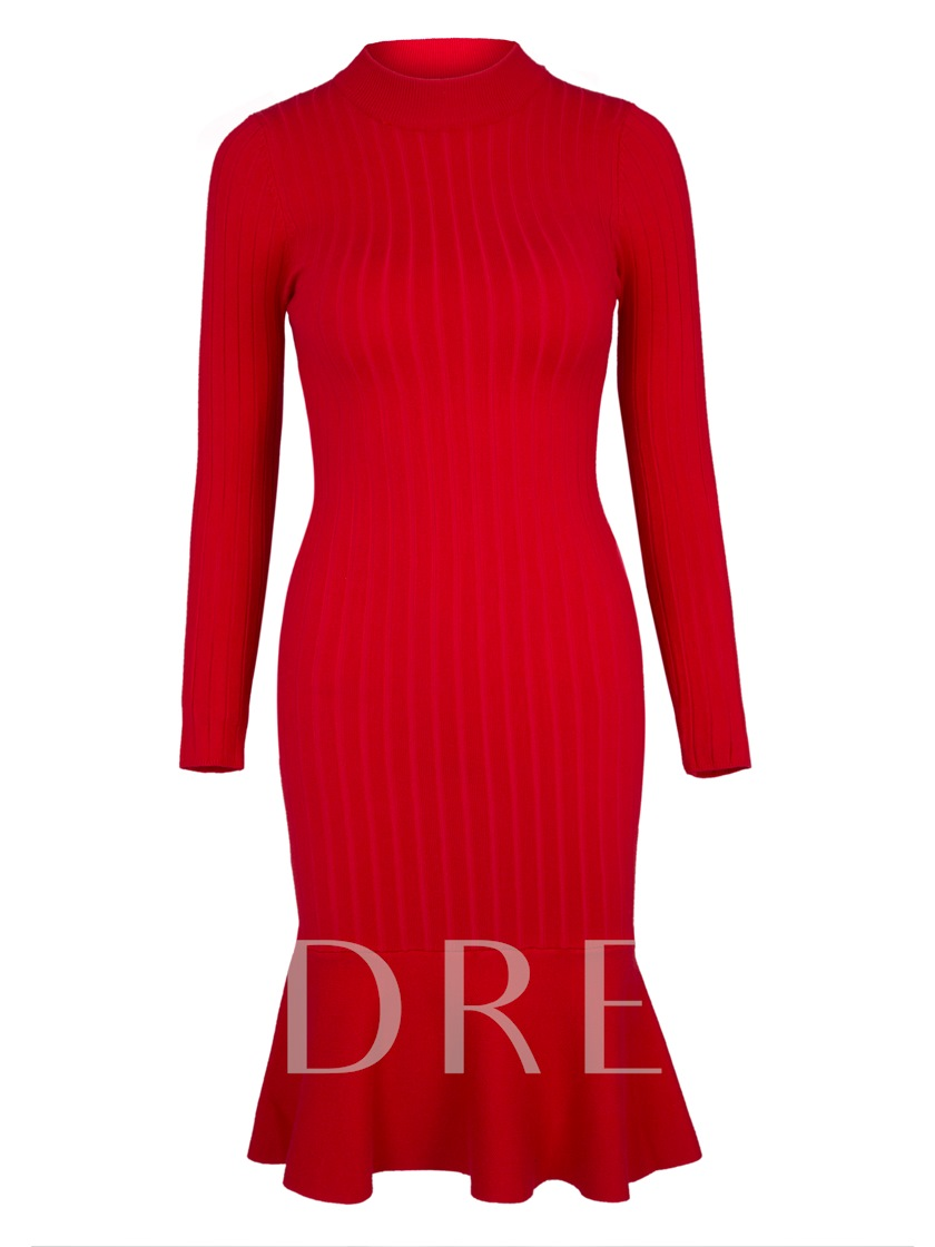 Stand Collar Pullover Plain Women's Sweater Dress